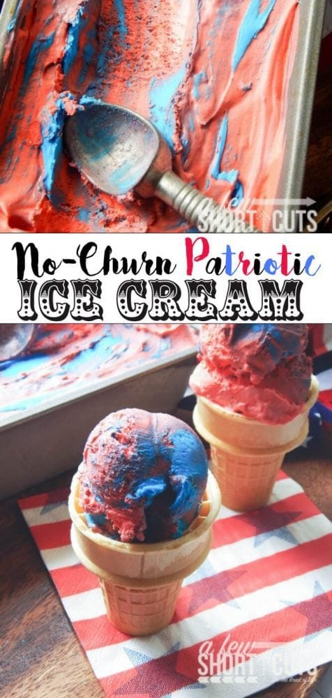 Simple, creamy, and delicious. This Patriotic No Churn Ice Cream recipe is so creamy and colorful. This could really be made any colors for a party or get together. No special equipment needed!