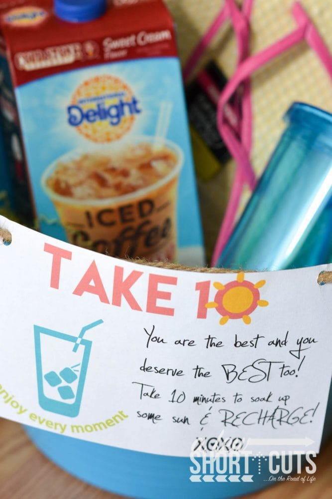 Remind a friend to take time for themselves with this Take 10 Gift Basket Idea. Make it for under $10 and get the FREE Printable Gift Tag #Idelightin10