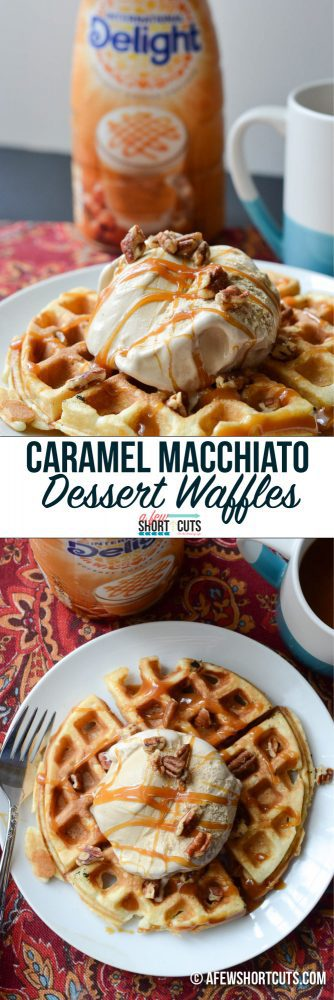 Love coffee? This is the stuff dreams are mLove coffee? This is the stuff dreams are made of. This easy to make Caramel Macchiato Dessert Waffles Recipe is so decadent and delicious!ade of. Caramel Macchiato Dessert Waffles Recipe. #createdelight @indelight