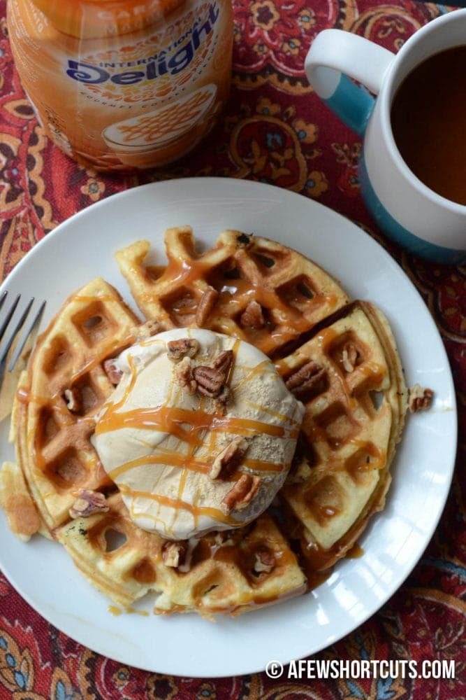 Love coffee? This is the stuff dreams are made of. Caramel Macchiato Dessert Waffles Recipe. #createdelight @indelight