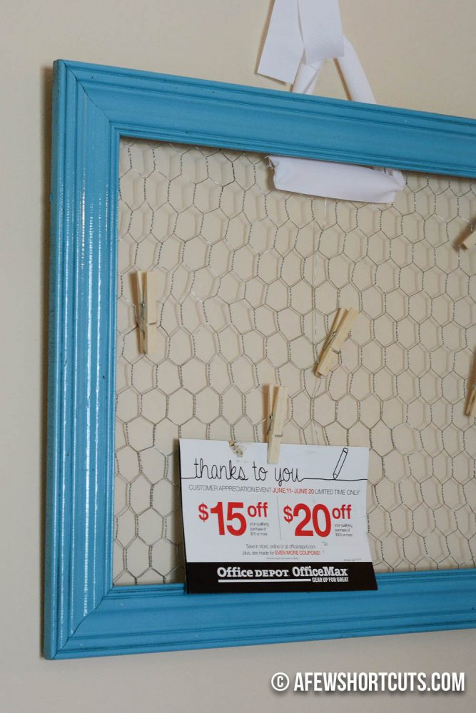 Get this cute farmhouse look in your house for less. Check out this DIY Chicken Wire Bulletin Board. It is much easier than you thick. A great afternoon craft project.