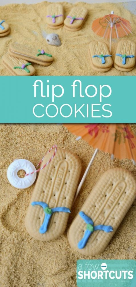 A fun idea to celebrate summer! Pull out some cookies and frosting to make these yummy Flip Flop Cookies!