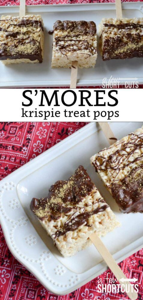 The perfect summer treat! Get the kids in the kitchen and try this S'mores Krispie Treat Pops recipe. The perfect combo of chocolate, marshmallow, and graham cracker on a stick!