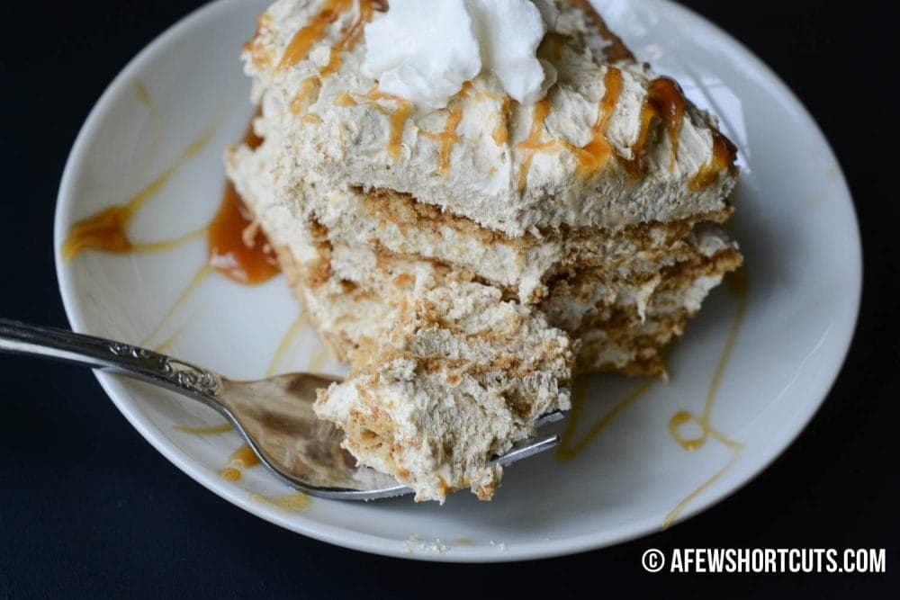 This no-bake Caramel Macchiato Icebox Cake Recipe is a caramel lovers dream! Only a few minutes until you are on cloud 9 with this dessert