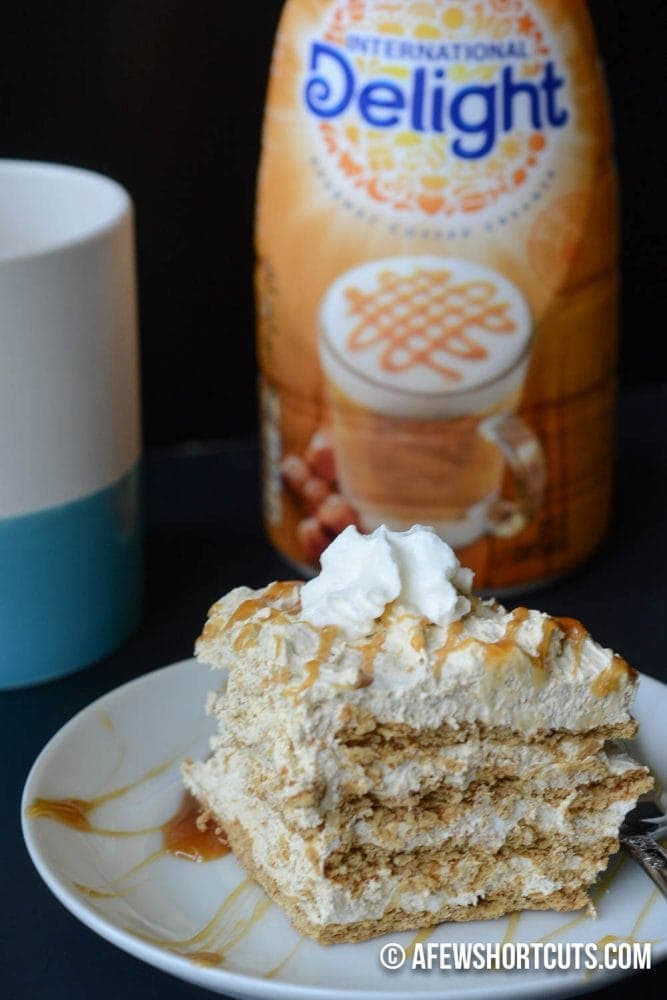 10 minutes to #CreateDelight in your life. This heavenly Caramel Macchiato Icebox Cake Recipe is so simple! Tastes like a caramel tiramisu! YUM! #idelight @Indelight