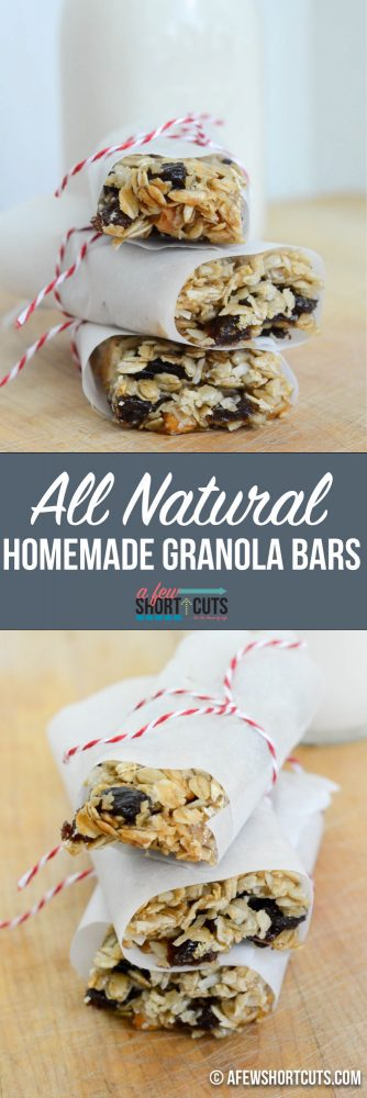 The perfect homemade snack or breakfast. Check out this All Natural Homemade Granola Bars Recipe! I love that they have no corn syrup or weird ingredients. Plus they are super simple to make!