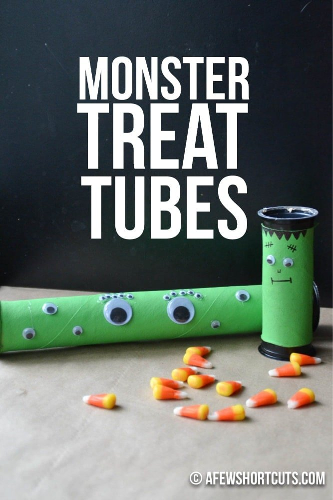 What a perfect craft for the kids this Halloween! Check out these simple DIY Monster Treat Tubes! Such a great party favor for fall too!  Fill with candy, toys, and more! Plus made with recycled materials!