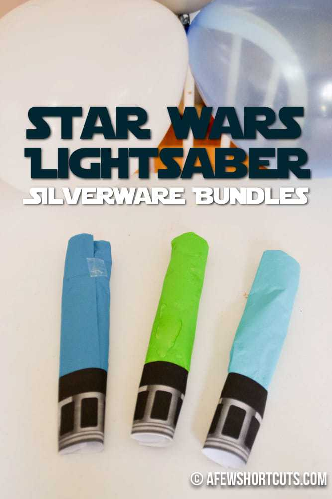 Do you have a Star Wars Party Planned? Check out these super simple Star Wars Light saber Silverware Bundles for your party table