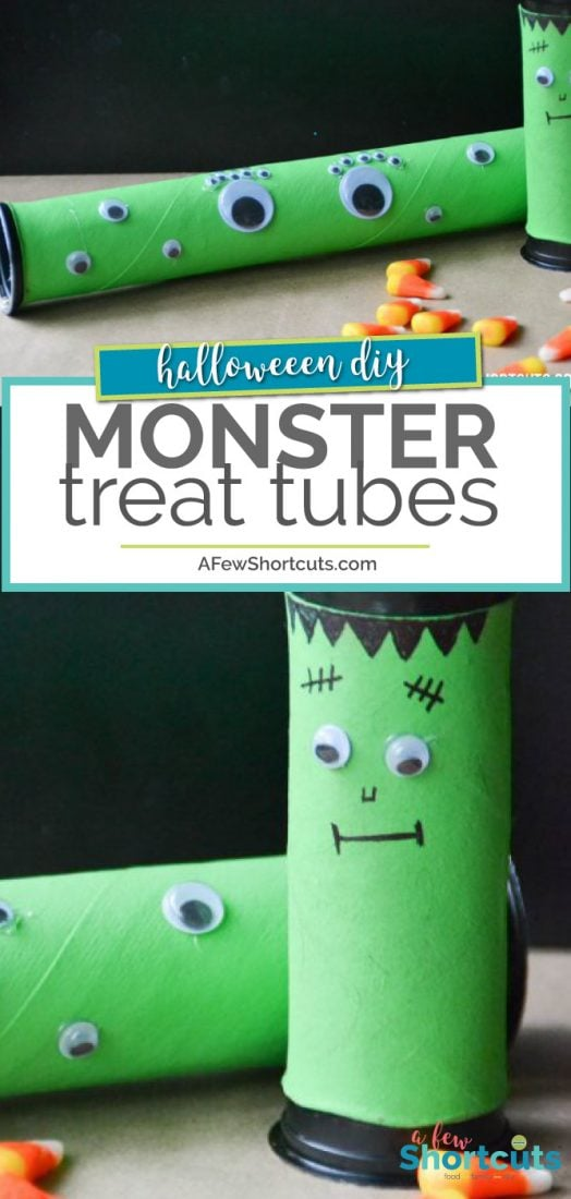 What a perfect craft for the kids this Halloween! Check out these simple DIY Monster Treat Tubes! Such a great party favor for fall too! Fill with candy, toys, and more! Plus made with recycled materials! | AFewShortcuts.com #halloween #kidscrafts #diy #crafts