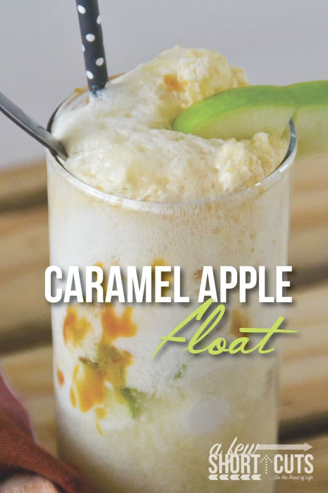 A must try fall ice cream treat! This Caramel Apple Float Recipe is so simple! It tastes like Apple Pie A-La-Mode in a cup! Sinfully delicious!