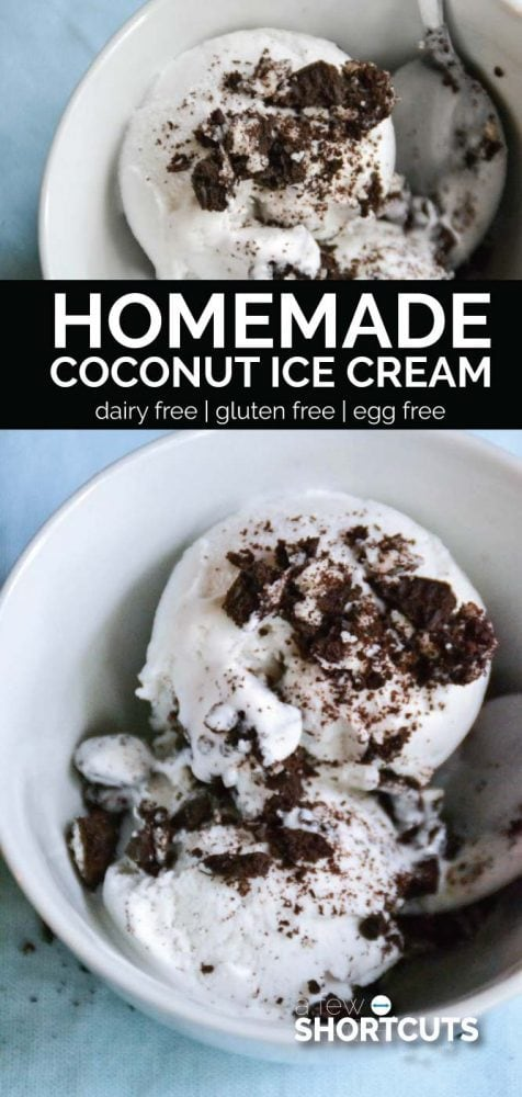 Make this dairy free Homemade Coconut Ice Cream Recipe that tastes amazing! With only 4 ingredients you can't go wrong! Gluten Free & Egg Free!