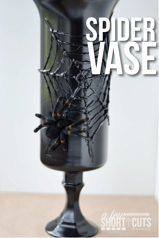 Spooky Halloween Decor for only a couple dollars! Check out this Simple Spider Vase DIY craft project that will creep out all of your guests!