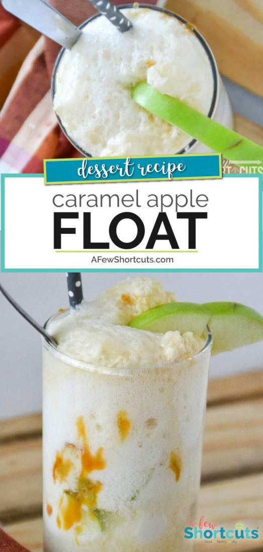 A must try fall ice cream treat! This Caramel Apple Float Recipe is so simple! It tastes like Apple Pie A-La-Mode in a cup! Sinfully delicious! @AFewShortcuts  #apple #caramel #dessert #recipe #icecreamfloat