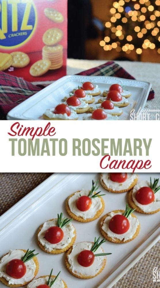 This is a perfectly easy holiday appetizer recipe! Check out these Simple Tomato Rosemary Canapés for your Christmas party! #christmas #appetizer #holidays #recipes