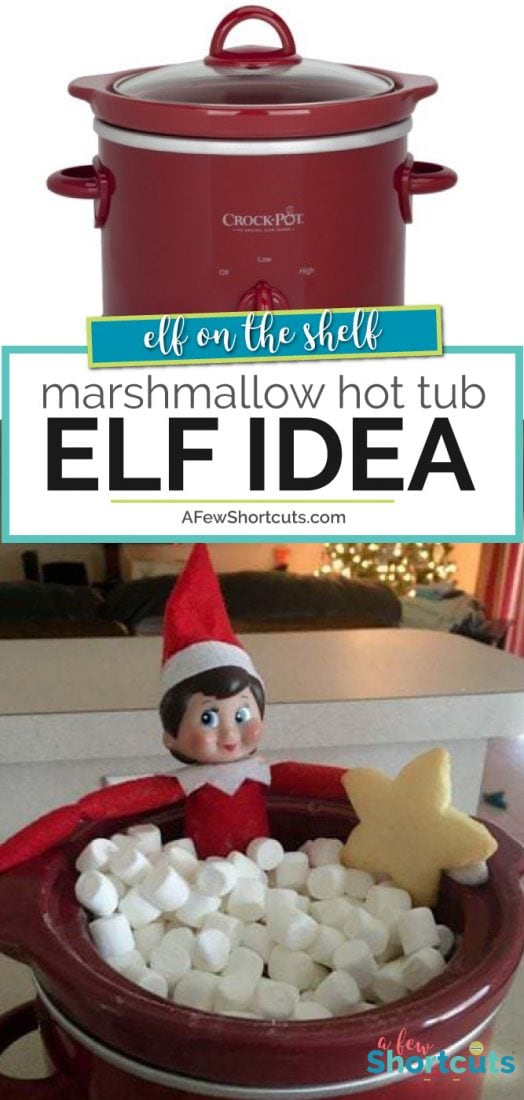 He found my small crockpot and filled it with mini-marshmallows and jumped right in!| @AFewShortcuts #elfontheshelf #elf #Elfideas #christmas