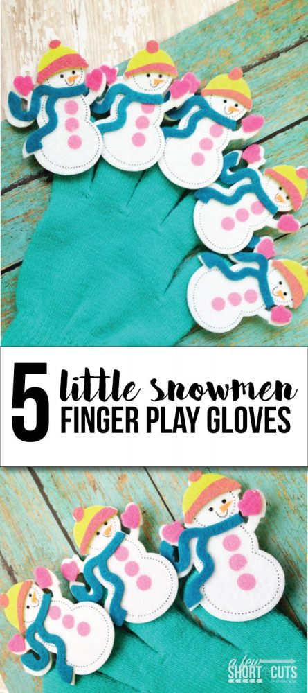 What a great little educational diy for the kids. Check out this 5 Little Snowmen Finger Play Gloves Craft & Song