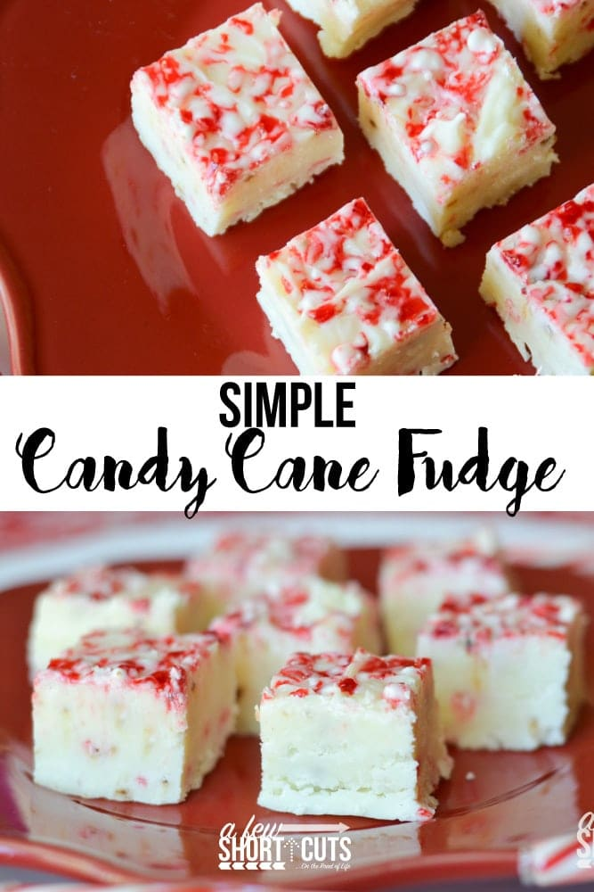 A fast and festive holiday treat to give as a gift or enjoy yourself. This Simple Candy Cane Fudge Recipe is a Christmas favorite!
