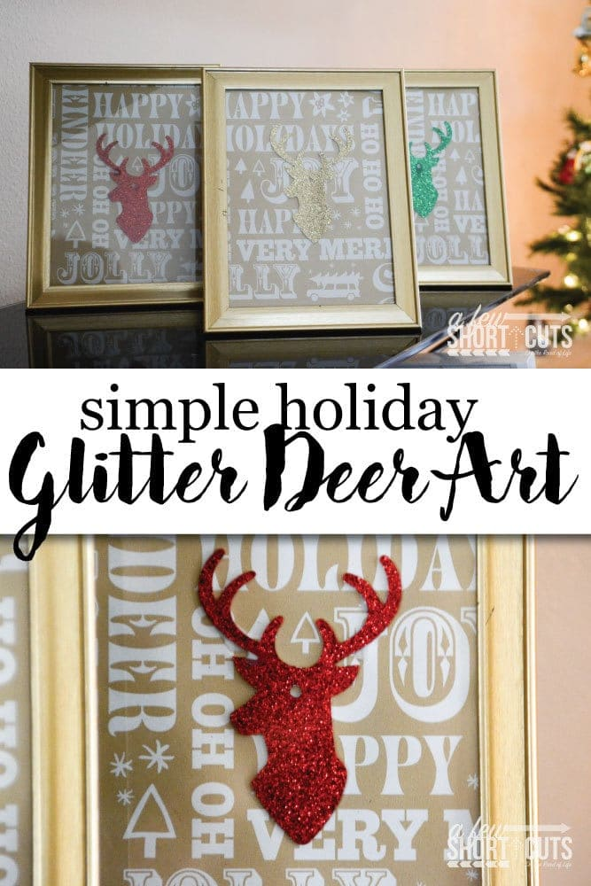 Dress up your home for the holidays with this Simple Holiday Glitter Deer art that was crafted from gift wrap items! This diy takes only minutes to throw together and looks fantastic!