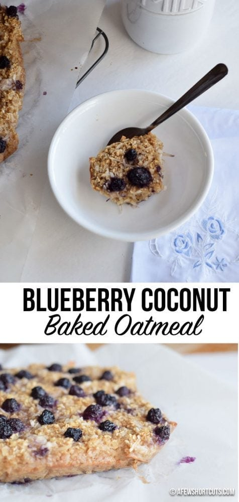 Delicious healthy breakfast recipe! You have to try this Blueberry Coconut Baked Oatmeal recipe! YUM!