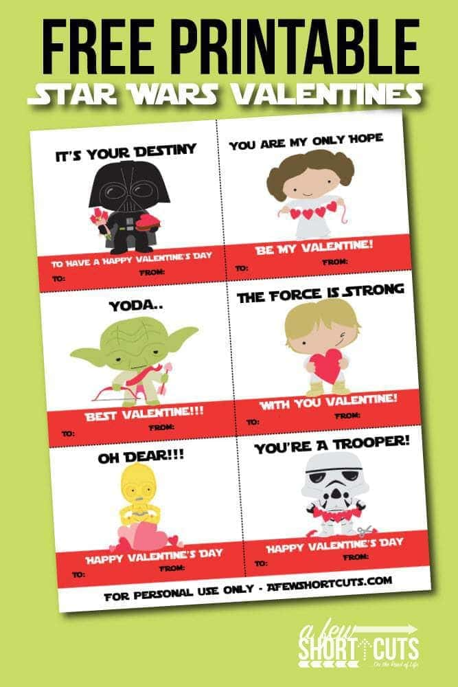 Free Printable Star Wars Valentines Cards A Few Shortcuts