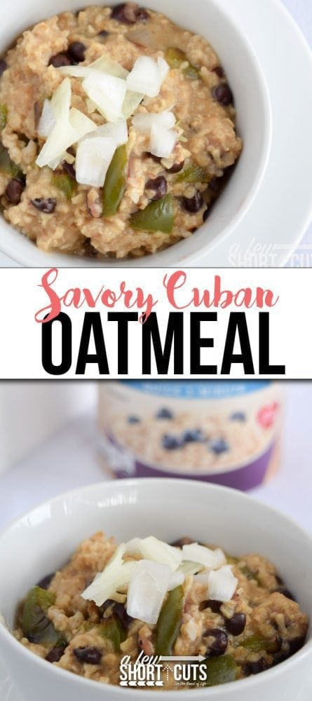 A unique twist on a pantry staple! This Savory Cuban Oatmeal recipe is a winner for lunch or dinner and can be on the table in just minutes. This quick recipe can also be made gluten free!