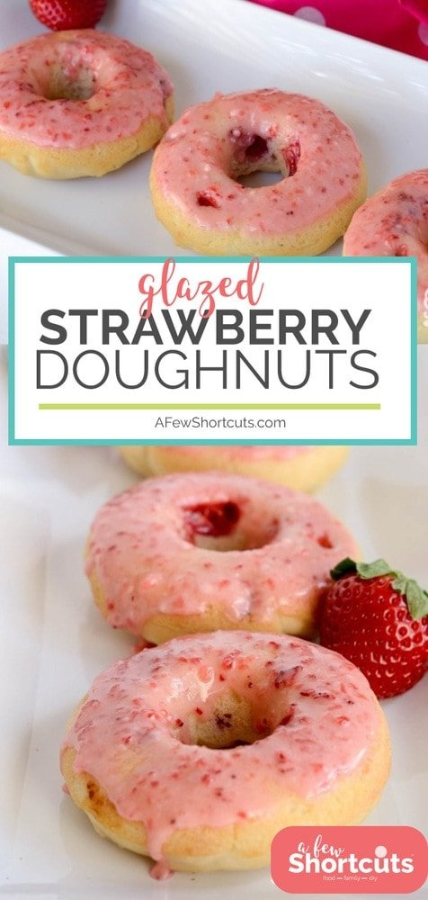 There is nothing like enjoying one of these Strawberry Doughnuts for a special treat! This simple donut recipe is a keeper!