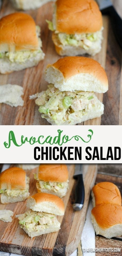 A healthy twist on a classic! You have to try this simple Avocado Chicken Salad Recipe! Eliminate the bun and this is a perfect low carb, keto lunch!