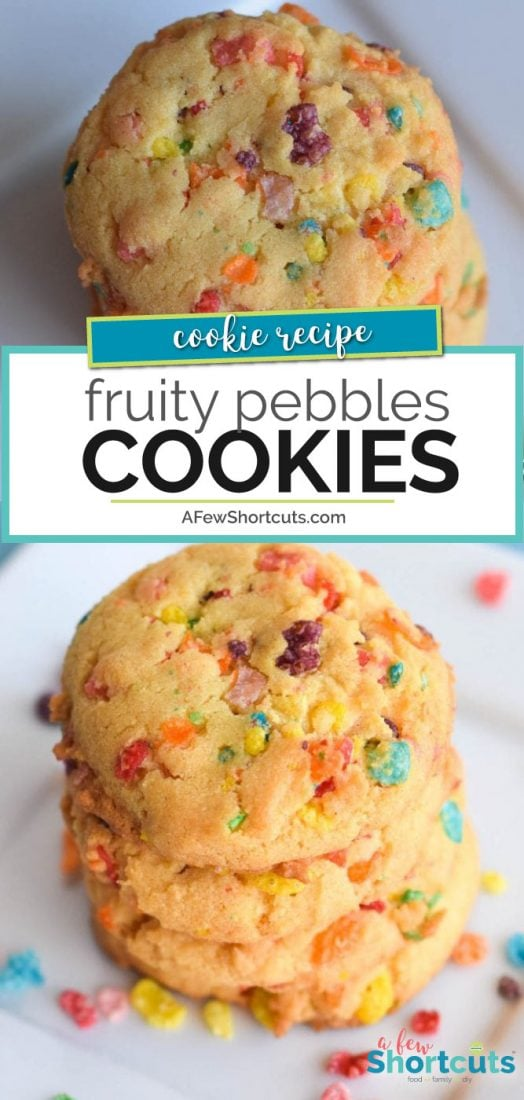 These could possibly be some of the best cookies I have ever eaten! Check out this Fruity Pebbles Cookies Recipe | AFewShortcuts.com #cookies #recipe #fruitypebbles #rainbow #glutenfree #dessert