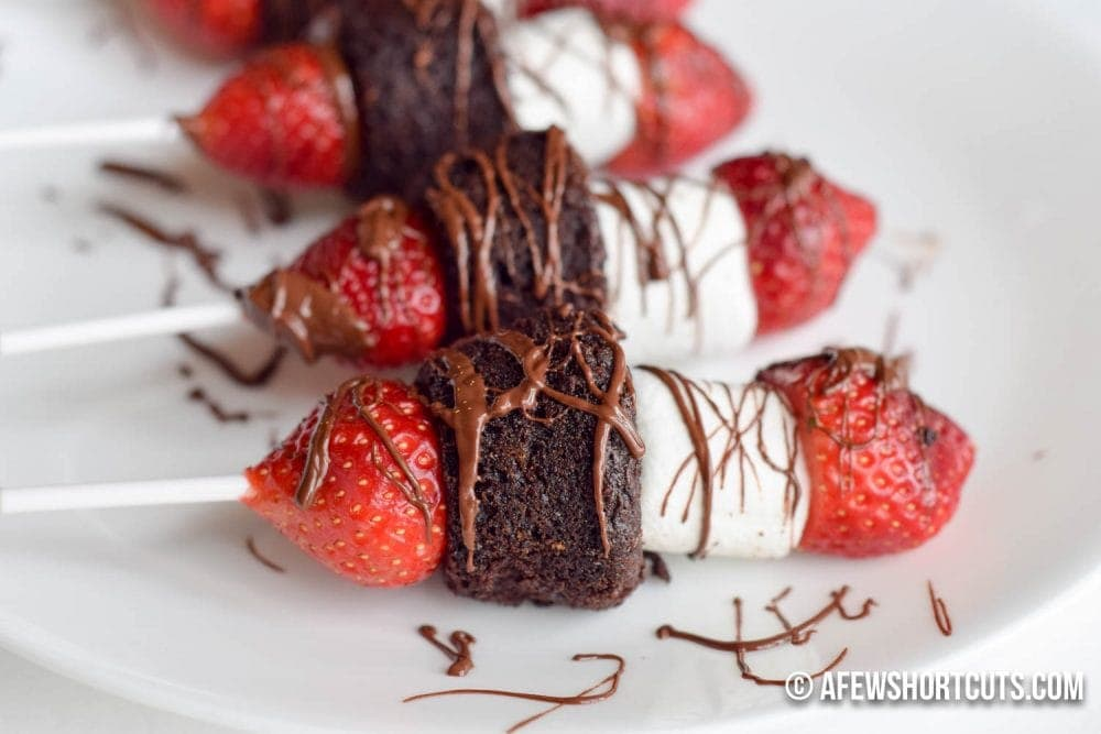 Strawberry Brownie Dessert Kebab A Few Shortcuts