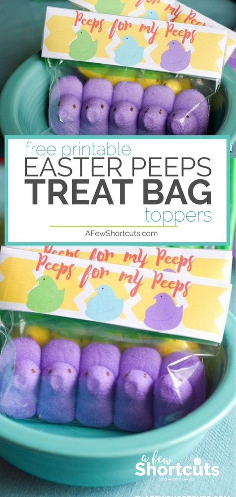 Have fun this Spring by handing out these adorable Peeps for my Peeps treat bags with this free printable easter peeps treat bag topper! Download yours now!