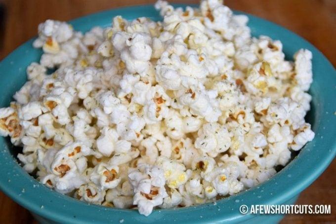 Ranch Popcorn Snack in blue bowl.
