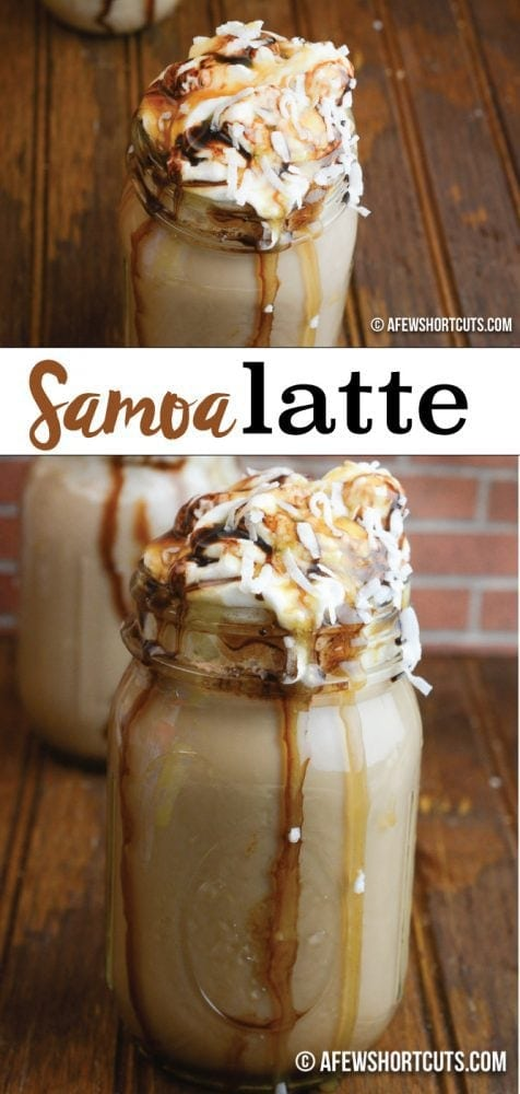Girl Scout Cookie favorite gone latte! You can't miss this sinful Samoa Latte Recipe! Make it in just minutes with your keurig!  Coffee, Chocolate Caramel, & coconut! Too good to be true!