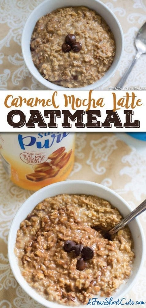 Coffee and Oatmeal in one bowl. Can even be made with a keurig! You have to check out this amazing Caramel Mocha Latte Oatmeal Recipe #idelight #SimplyPureCreamer