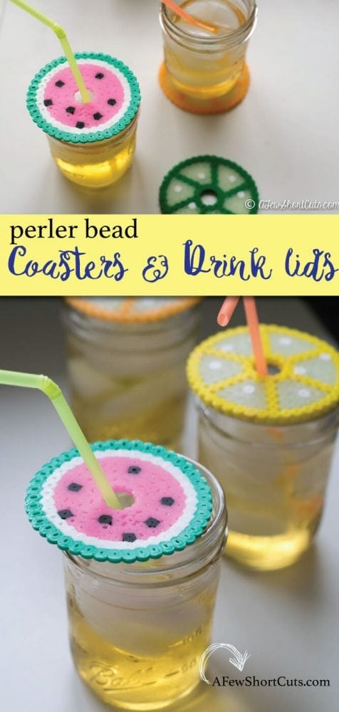 "Turn a case of the ""I'm boreds"" into something useful and fun. Make this fun craft project for the kids Summer Perler Bead Coasters & Drink Lids. A simple functional craft that they will love!"