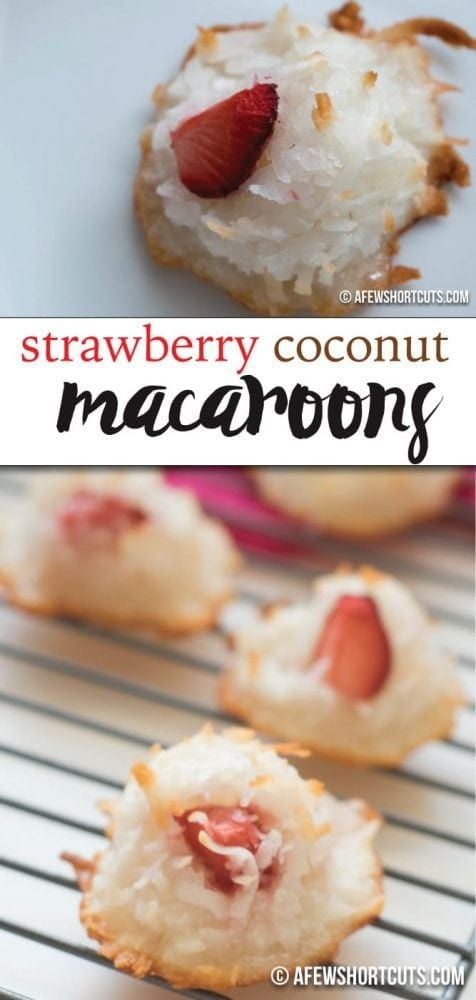 Simply divine! You have to try this Strawberry Coconut Macaroons recipe! They are naturally gluten free & dairy free.  These are the BEST cookies!