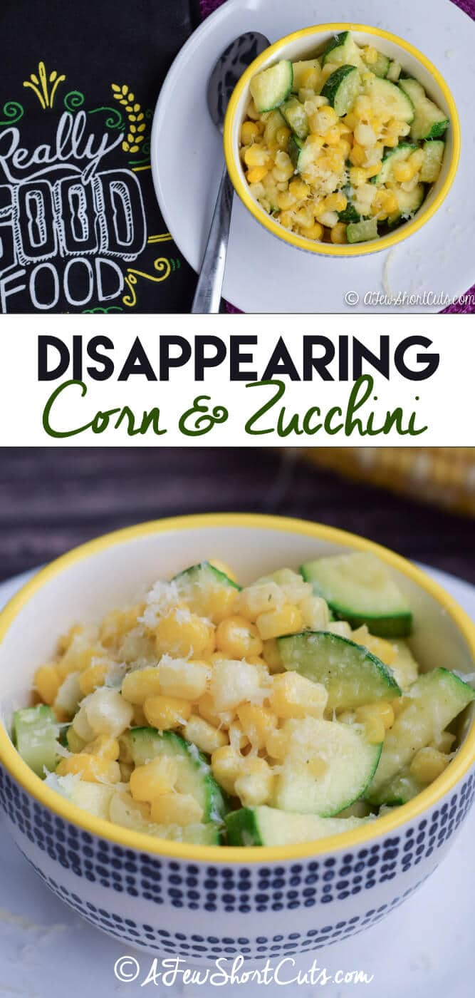This could be the best side dish ever. On the table in 10 minutes or less and it disappears even faster! Try this Disappearing Corn & Zucchini Recipe!
