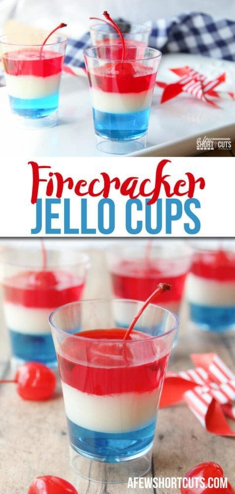 The Summer is full of fun patriotic holidays to get your Red, White, & Blue on. Whether you are celebrating Memorial Day, The Fourth of July, or routing for the USA in the Summer Olympics this Firecracker Jello Cups Recipe is the perfect way to indulge in a fun treat!