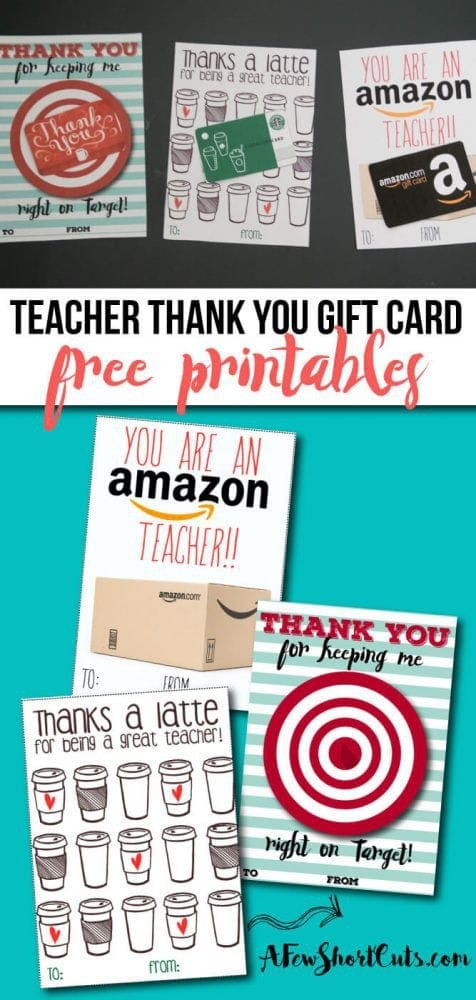 Free Teacher Gift Card Printable Thank You Card Idea A Few Shortcuts