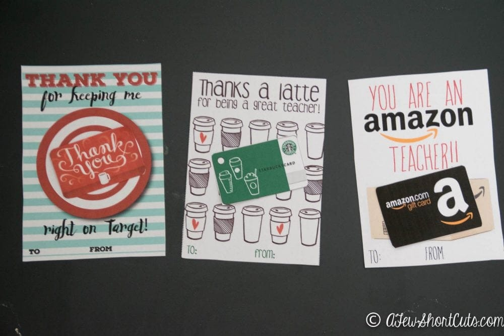 Check out these FREE Teacher Gift Card Printable Thank you Cards! Just attach a gift card and you are good to go! Perfect for Teacher Appreciation or the End of the School Year!