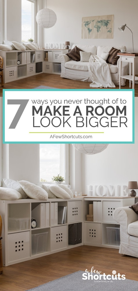 Do you have a small space? You need to look at these 7 Ways you Never thought of to make a room look bigger. Some simple tips to visual give you more room!