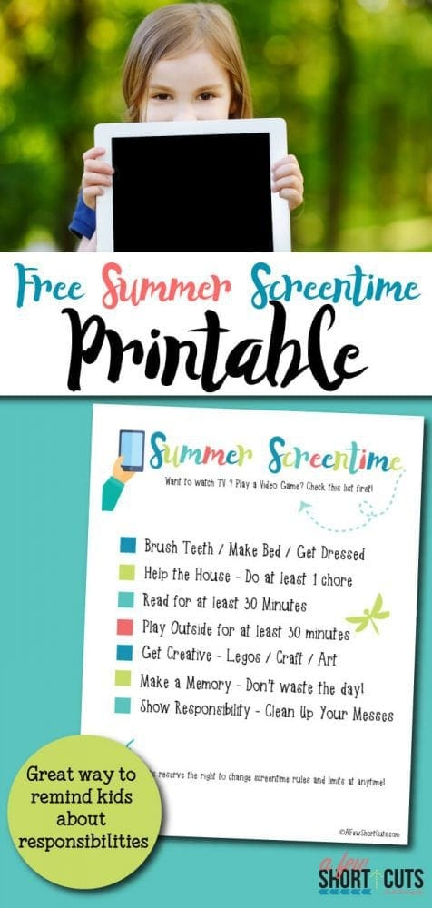 photo about Screen Time Rules Printable known as No cost Summer months Screentime Printable - A Pair Shortcuts