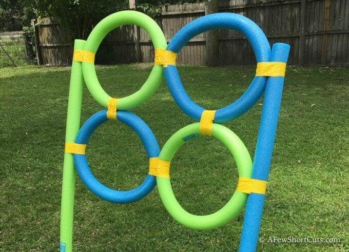 Blue & Green Pool Noodle Frisbee Target
