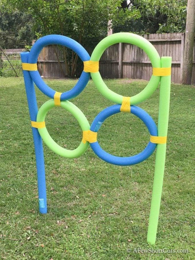 Pool Noodle Frisbee Target in yard