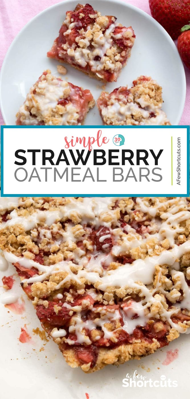 Strawberry Oatmeal Bars Recipe is a simple and tasty way to offer something special for breakfast or a snack. Comes with Gluten free and dairy free versions too! | @AFewShortcuts #recipes #strawberry #breakfast #glutenfree #dairyfree