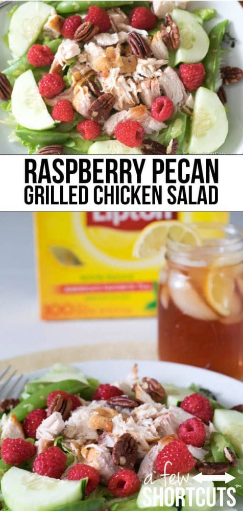 The perfect quick and easy meal! Raspberry Pecan Grilled Chicken Salad Recipe goes great with a glass of Lipton Iced Tea!