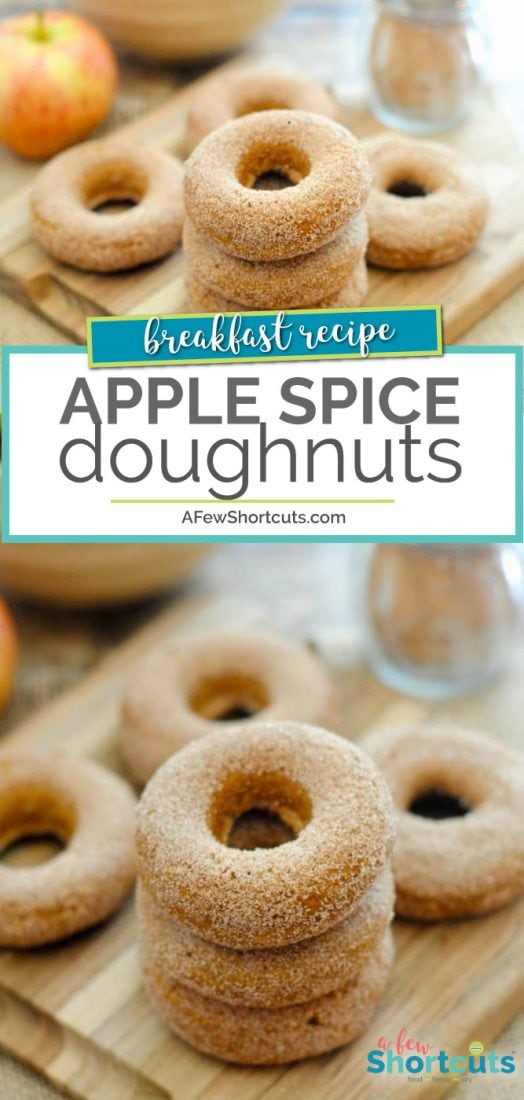 With fall breezing in, these Apple Spice Doughnuts are just what the scarecrow ordered! Make this simple recipe today! | AFewShortcuts.com #recipe #fall #doughnuts #donuts #apple #breakfast