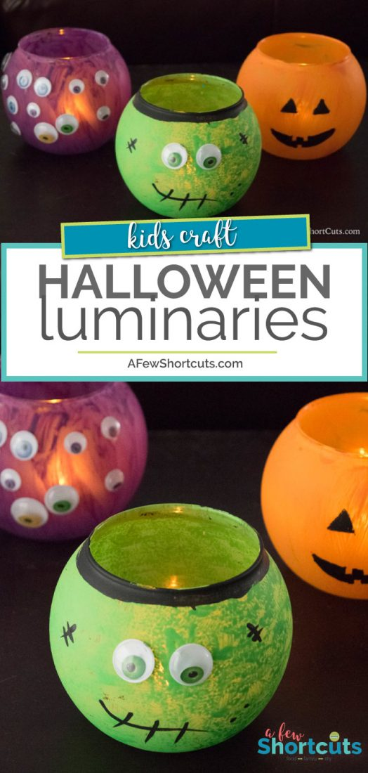 If you are looking for a fun Halloween Craft to do with the kids these DIY Halloween Luminaries are so much fun! | AFewShortcuts.com #halloween #diy #kidscraft #fall #craft