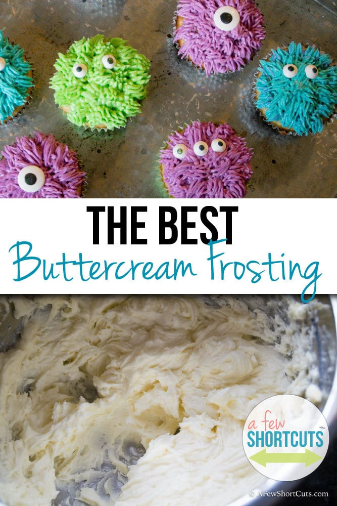 The Best Buttercream Frosting Recipe that is perfect for icing cakes and cupcakes. Can be made dairy free too! So good!