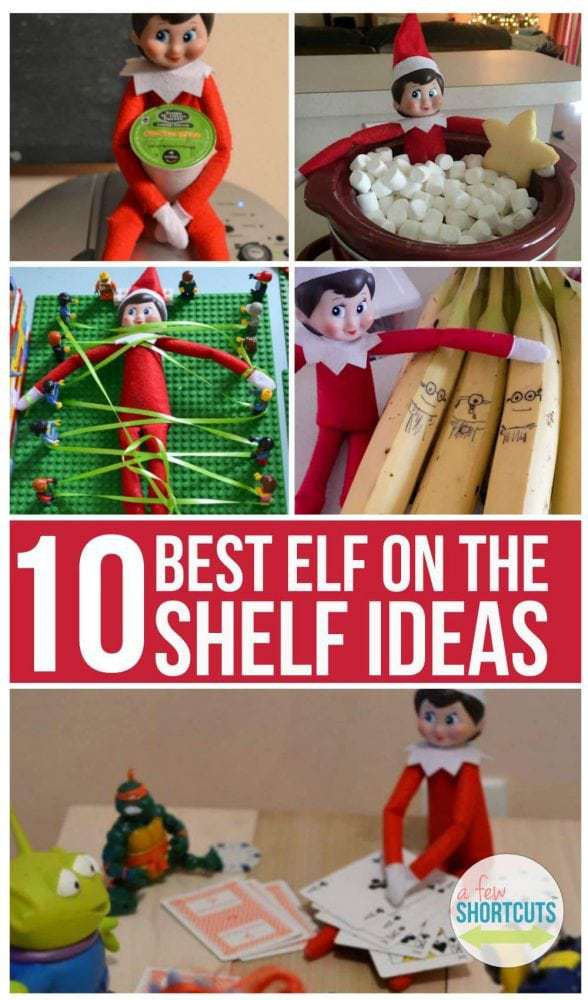 If you are participating in the Elf on the Shelf tradition with your kids it can be hard to be creative sometimes. Keep a smile on their faces and keep them laughing with these 10 BEST Elf on the Shelf Ideas!