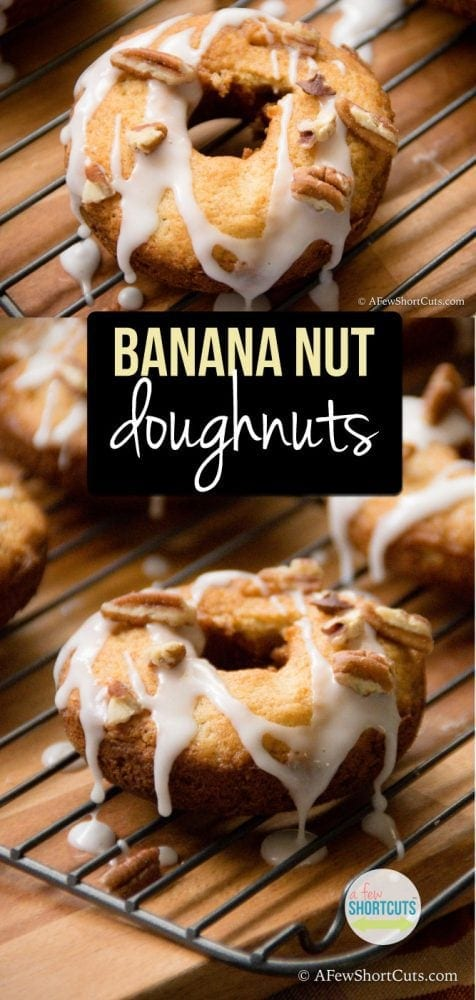 This is breakfast happiness! If you are a banana bread fan, you must try this easy Banana Nut Doughnuts Recipe. Super easy to make and amazing!